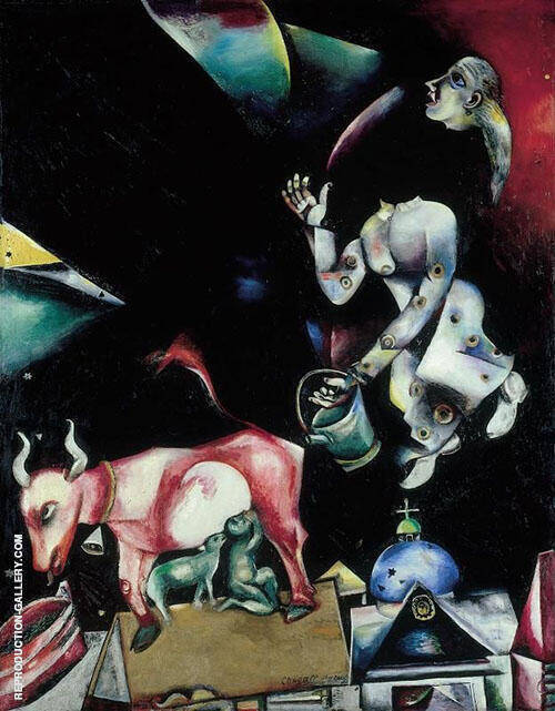 To Russia with Asses and Others 1911 Painting By Marc Chagall