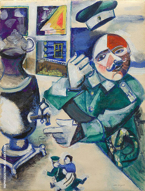 The Soldier Drinks By Marc Chagall