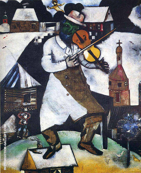 The Fiddler 1913 By Marc Chagall Replica Paintings on Canvas - Reproduction Gallery