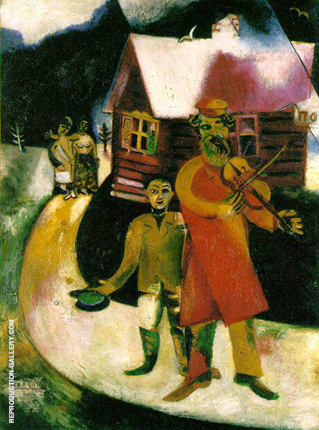 The Fiddler 2,1911-1914 by Marc Chagall | Oil Painting Reproduction Replica On Canvas - Reproduction Gallery