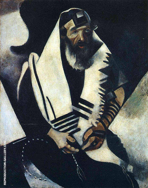 The Praying Jew Rabbi of Vitebsk 1914 Painting By Marc Chagall