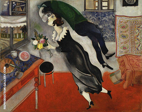 The Birthday, 1915 By Marc Chagall Replica Paintings on Canvas - Reproduction Gallery
