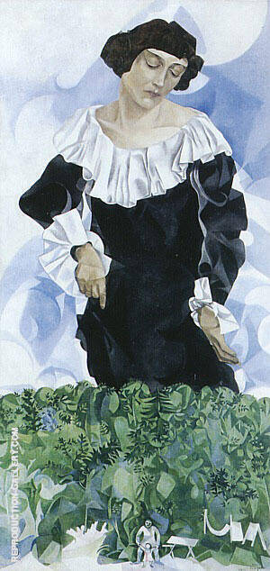 Bella with White Collar 1917 Painting By Marc Chagall