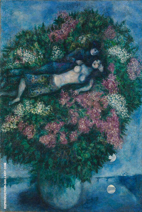Lovers in the Lilacs, 1930 Painting By Marc Chagall - Reproduction Gallery