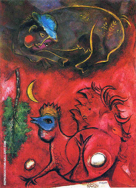 Listening to the Cock,1944 By Marc Chagall Replica Paintings on Canvas - Reproduction Gallery