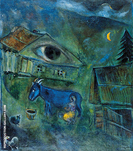Reproduction of The House with the Green Eye 1944 by Marc Chagall | Oil Painting Replica On CanvasReproduction Gallery