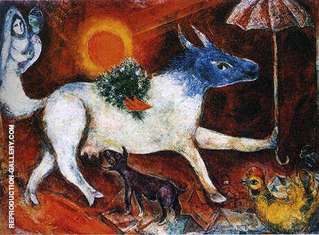 Cow with Parasol, 1946 Painting By Marc Chagall - Reproduction Gallery