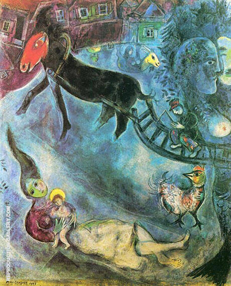 Madonna with the Sleigh 1947 By Marc Chagall Replica Paintings on Canvas - Reproduction Gallery