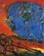 Couple on a Red Background 1983 By Marc Chagall