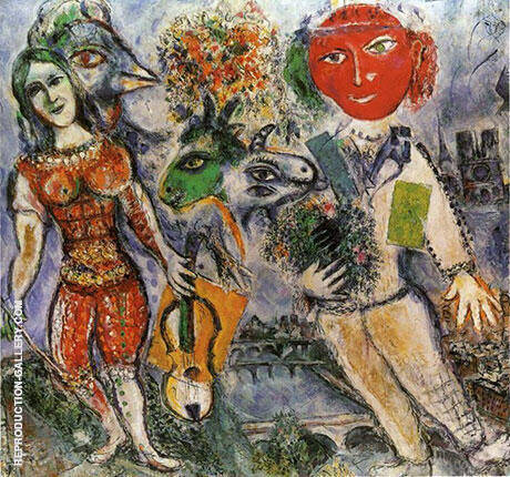 The Players, 1968 Painting By Marc Chagall - Reproduction Gallery