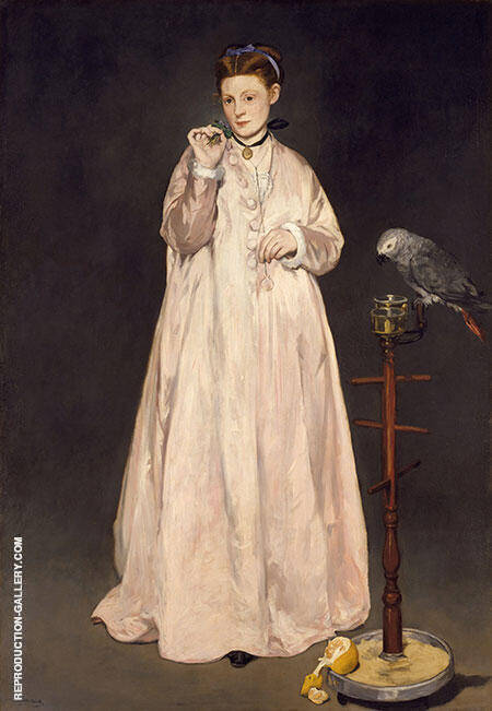 Woman with a Parrot 1866 By Edouard Manet Replica Paintings on Canvas - Reproduction Gallery