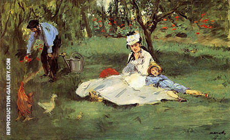 The Monet Family in their Garden 1874 By Edouard Manet - Oil Paintings & Art Reproductions - Reproduction Gallery