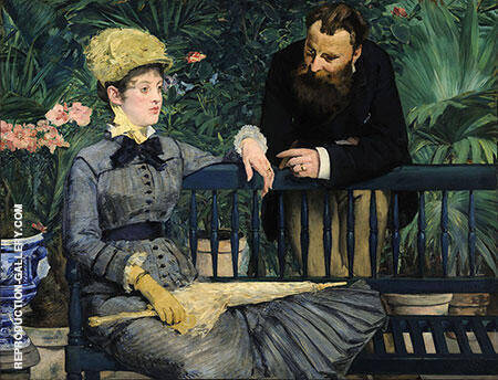 In the Conservatory 1879 By Edouard Manet - Oil Paintings & Art Reproductions - Reproduction Gallery