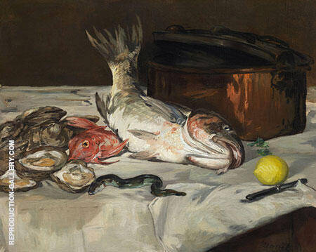Fish Still Life 1864 Painting By Edouard Manet - Reproduction Gallery