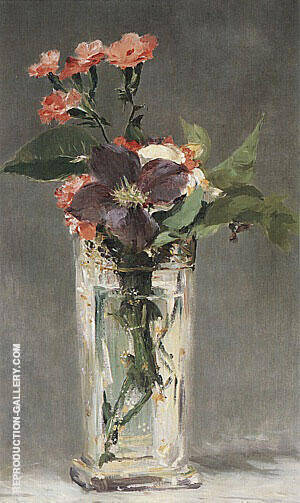 Pinks and Clematis in a Crystal Vase 1882 By Edouard Manet