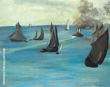 Steamboat Seascape or Sea View Calm Weather c1864 By Edouard Manet - Oil Paintings & Art Reproductions - Reproduction Gallery