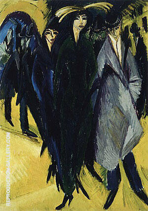 Woman in the Street 1915 By Ernst Kirchner - Oil Paintings & Art Reproductions - Reproduction Gallery