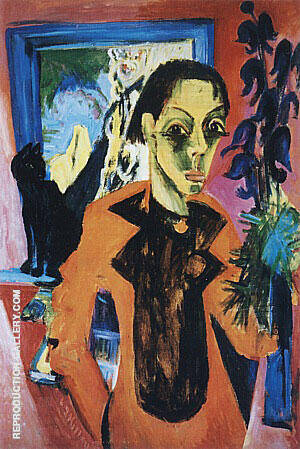 Self-Portrait with a Cat c1919-20 By Ernst Kirchner - Oil Paintings & Art Reproductions - Reproduction Gallery