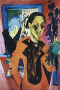 Self-Portrait with a Cat c1919-20 By Ernst Kirchner