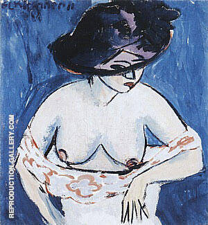 Female Nude with Hat 1911 By Ernst Kirchner Replica Paintings on Canvas - Reproduction Gallery
