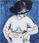Female Nude with Hat 1911 By Ernst Kirchner
