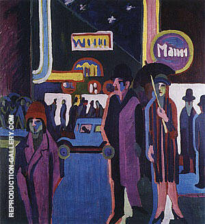 Street Scene at Night c1926 Painting By Ernst Kirchner