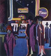 Street Scene at Night c1926 By Ernst Kirchner