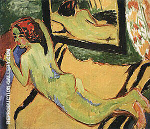 Reclining Nude with Pipe c1909-10 Painting By Ernst Kirchner