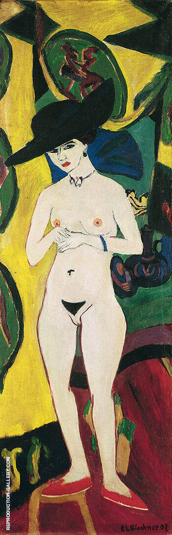 Standing Nude with Hat c1910 Painting By Ernst Kirchner