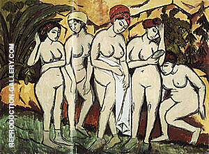 Five Bathers by A Lake 1911 Painting By Ernst Kirchner