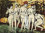 Five Bathers by A Lake 1911 By Ernst Kirchner