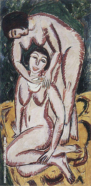 Two Female Nudes on a Vertical Format 1911 By Ernst Kirchner