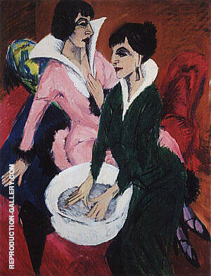 Two women with a Washbasin 1913 Painting By Ernst Kirchner