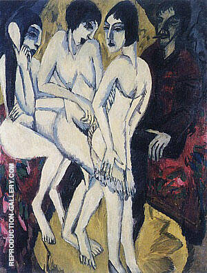 Judgement of Paris 1913 By Ernst Kirchner - Oil Paintings & Art Reproductions - Reproduction Gallery