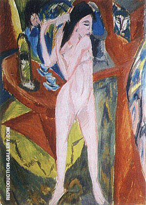 Nude Combing her Hair 1913 By Ernst Kirchner - Oil Paintings & Art Reproductions - Reproduction Gallery
