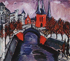 Red Elisabeth Embankment Berlin 1912 By Ernst Kirchner Replica Paintings on Canvas - Reproduction Gallery