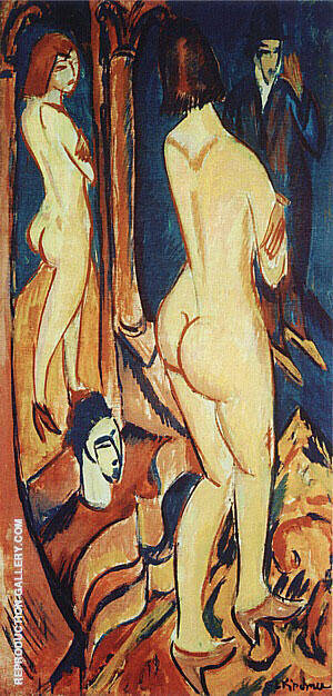 Nude Viewed from the Back with Mirror and Man 1912 By Ernst Kirchner