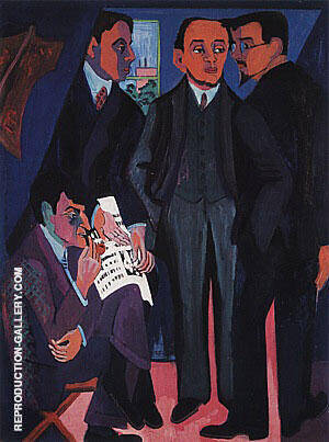 Reproduction of An Artist's Group Otto Mueller Kirchner Heckel Schmidt-Rottluff c1926-27 by Ernst Kirchner | Oil Painting Replica On CanvasReproduction Gallery