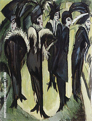 Five Woman in the Street 1913 By Ernst Kirchner