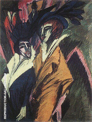 Two Women in the Street 1914 By Ernst Kirchner