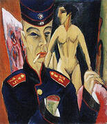 Self-Portrait as a Soldier 1915 By Ernst Kirchner