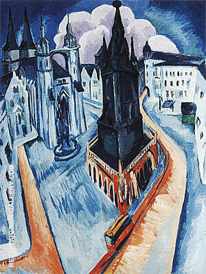 The Red Tower in Halle 1915 By Ernst Kirchner - Oil Paintings & Art Reproductions - Reproduction Gallery