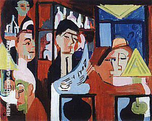 Cafe in Davos 1928 Painting By Ernst Kirchner - Reproduction Gallery
