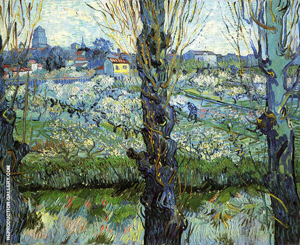 Orchard in Bloom with Poplars 1889 Painting By Vincent van Gogh