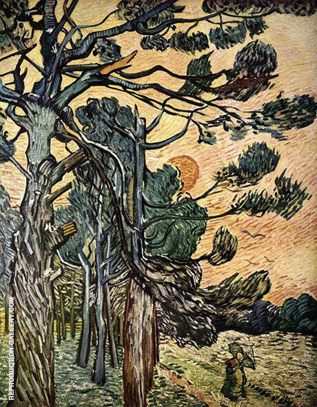 Fir Woods at Sunset 1889 By Vincent van Gogh Replica Paintings on Canvas - Reproduction Gallery