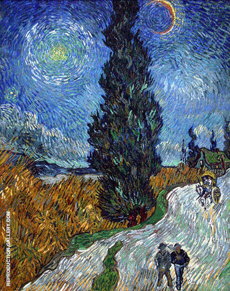 Road with Cypress and a Star 1890 By Vincent van Gogh