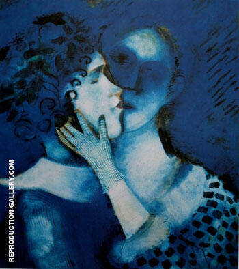 Lovers In Blue 1914 Painting By Marc Chagall - Reproduction Gallery