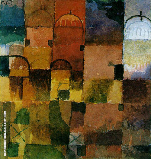 Reproduction of Red and White Domes by Paul Klee | Oil Painting Replica On CanvasReproduction Gallery