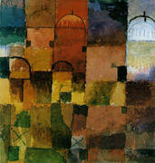 Red and White Domes By Paul Klee
