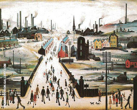 The Canal Bridge By L-S-Lowry - Oil Paintings & Art Reproductions - Reproduction Gallery